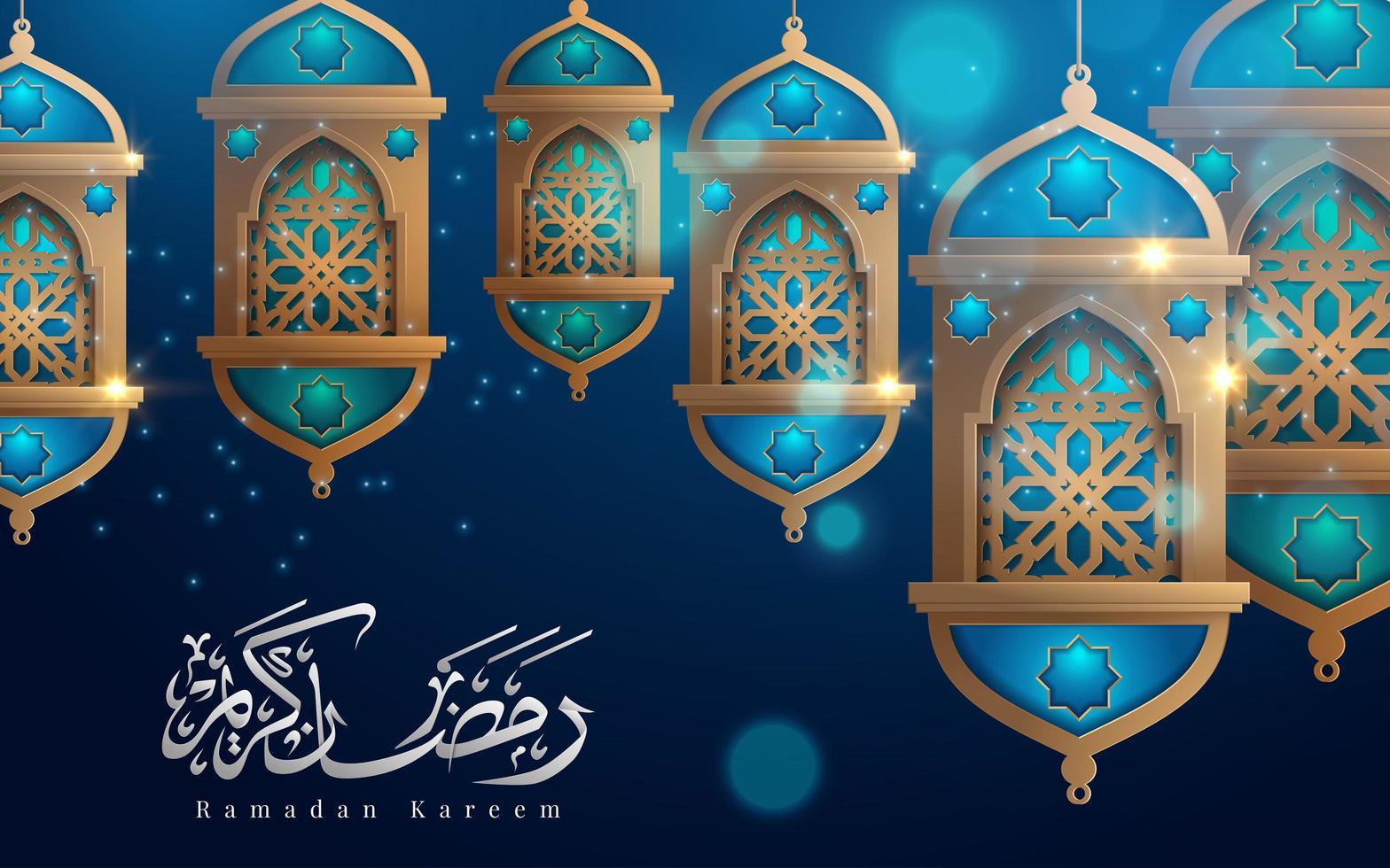 Ramadan Kareem lanternas de suspensão na saudação azul vetor