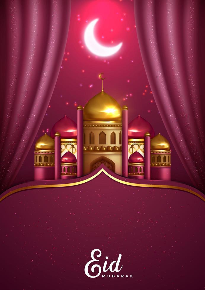 rosa de eid mubarak com mesquita cartão comemorativo vetor