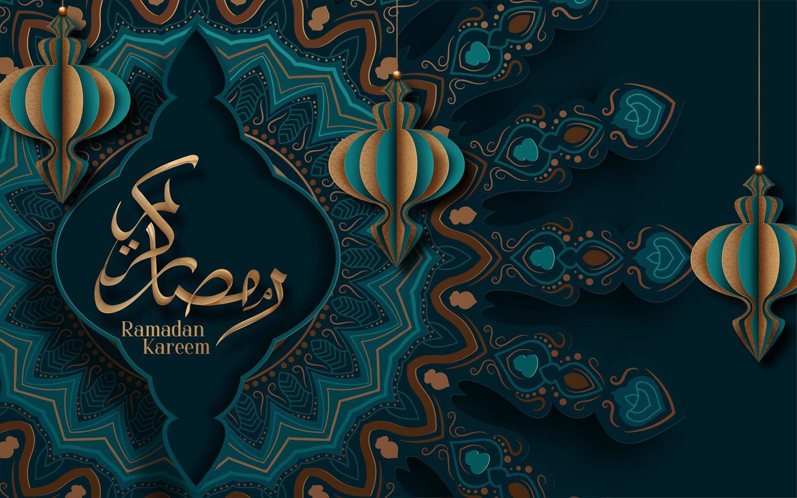 Saludo de Ramadan Kareem adornado con linternas de papel colgantes 3d vector