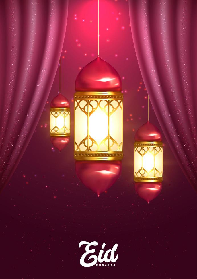 saludo eid mubarak con linternas y cortinas vector