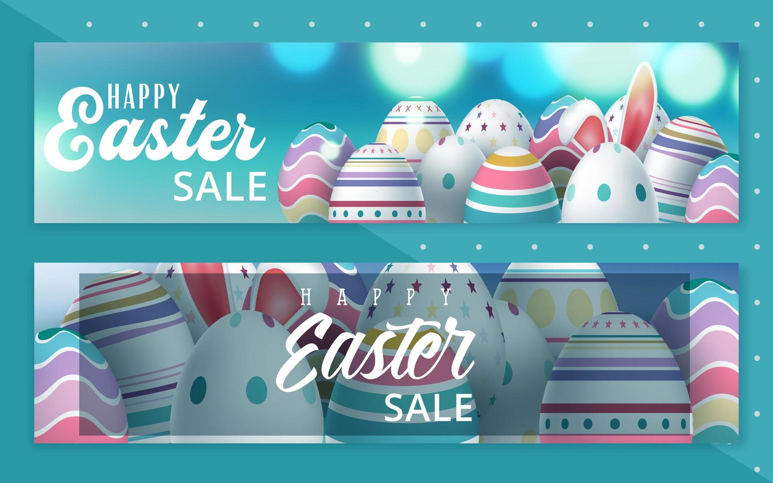 conjunto de banner de ovo de páscoa venda vetor