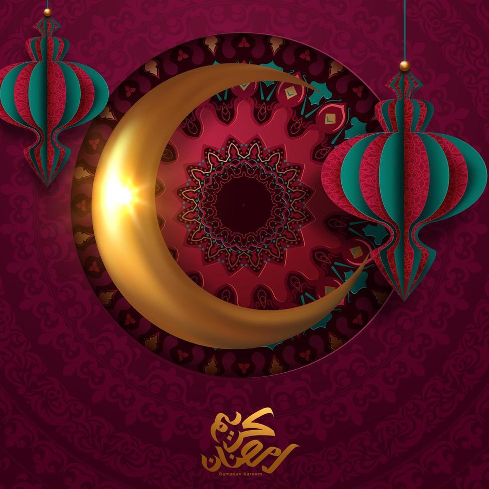 Ramadan Kareem Poster mit goldenem Mond und Papierlaternen vektor