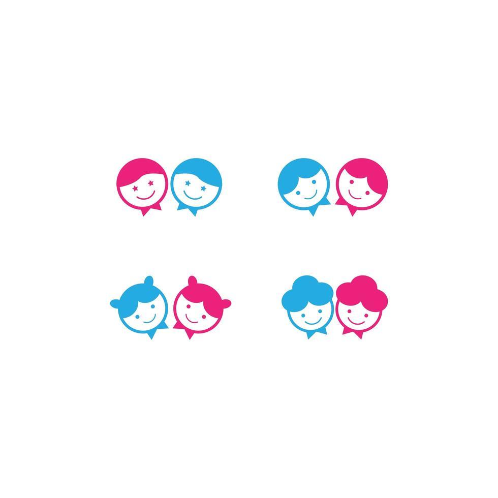 jeu d'icônes de tête d'enfant vecteur