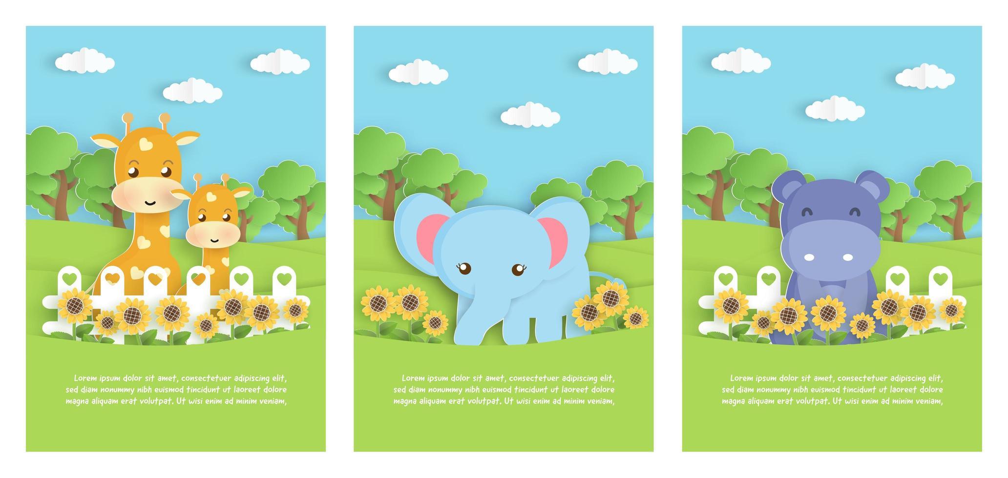 set van dierentuin dieren kaarten vector