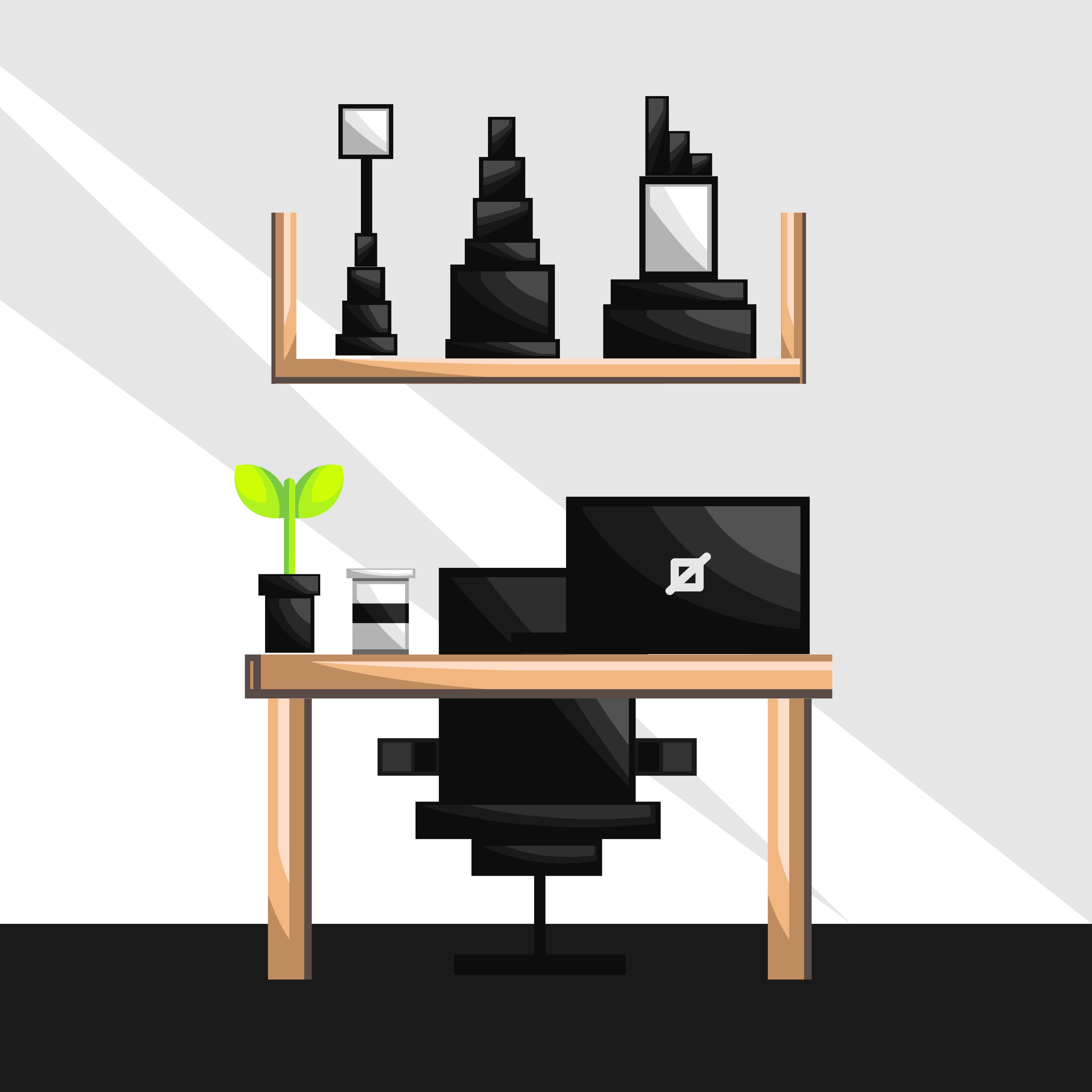 Home office interior design - Download Free Vectors ...