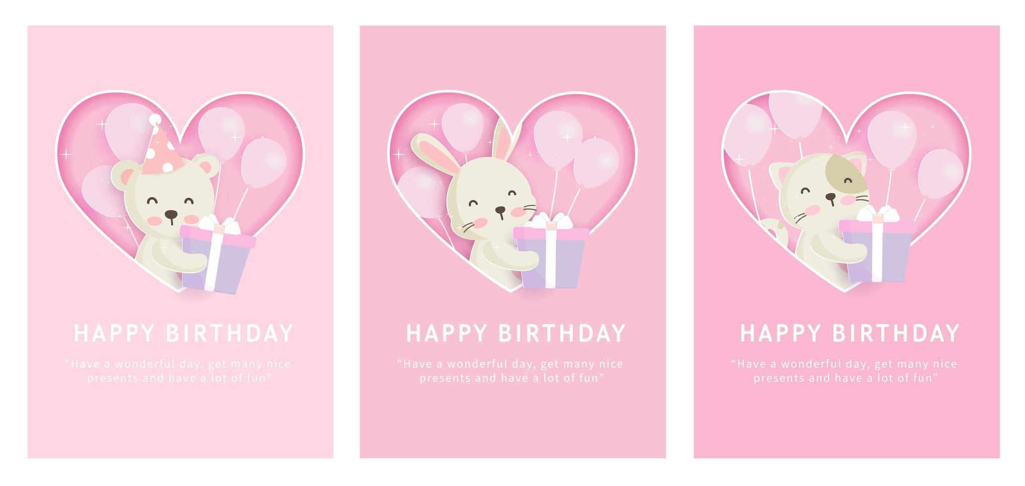 impostare carte di buon compleanno vettore