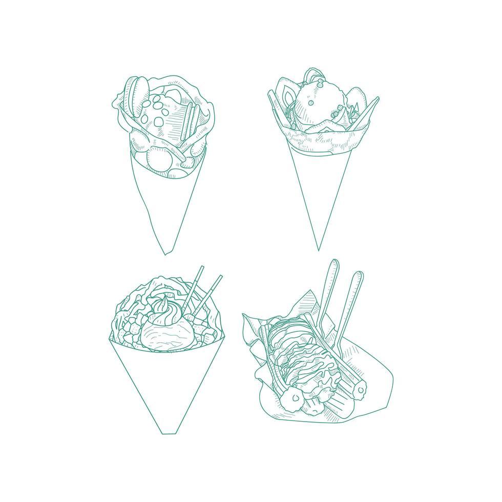 set van doodle dessert eten vector