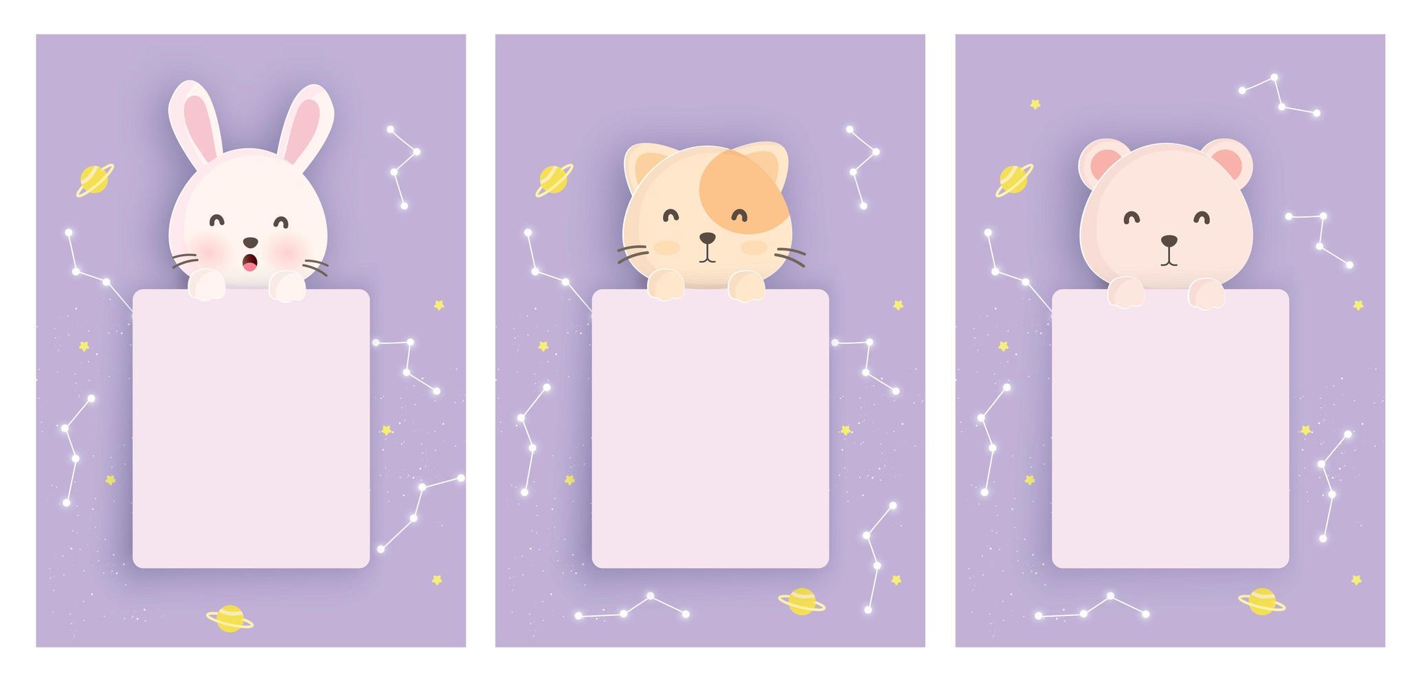 conjunto de animais cartões de astrologia vetor