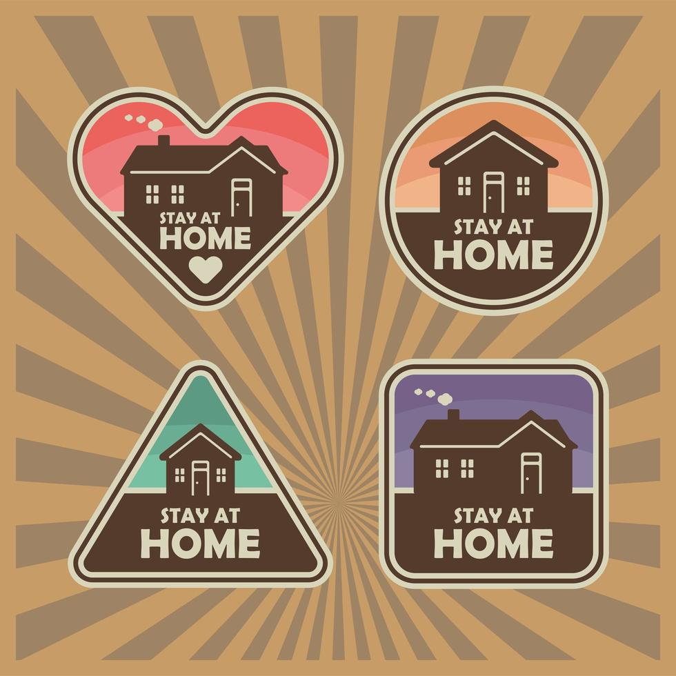 Stay at Home Sticker set vector
