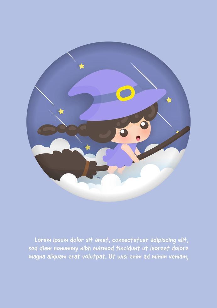 cartão de aniversário com bruxa vetor