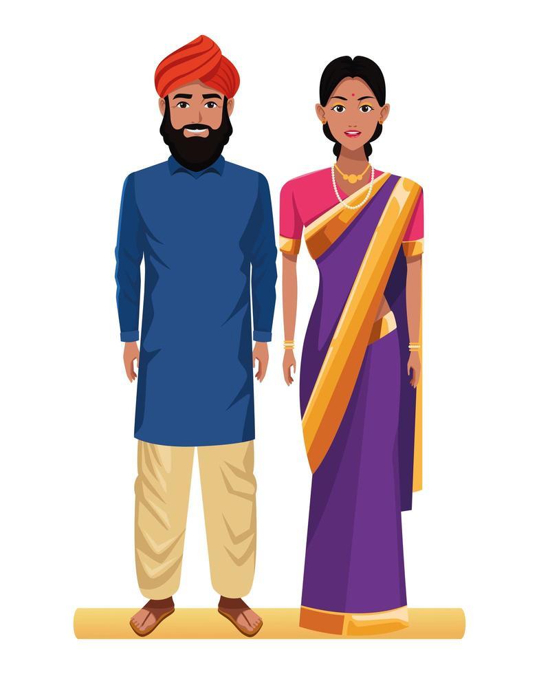 Indiase paar tekenset vector