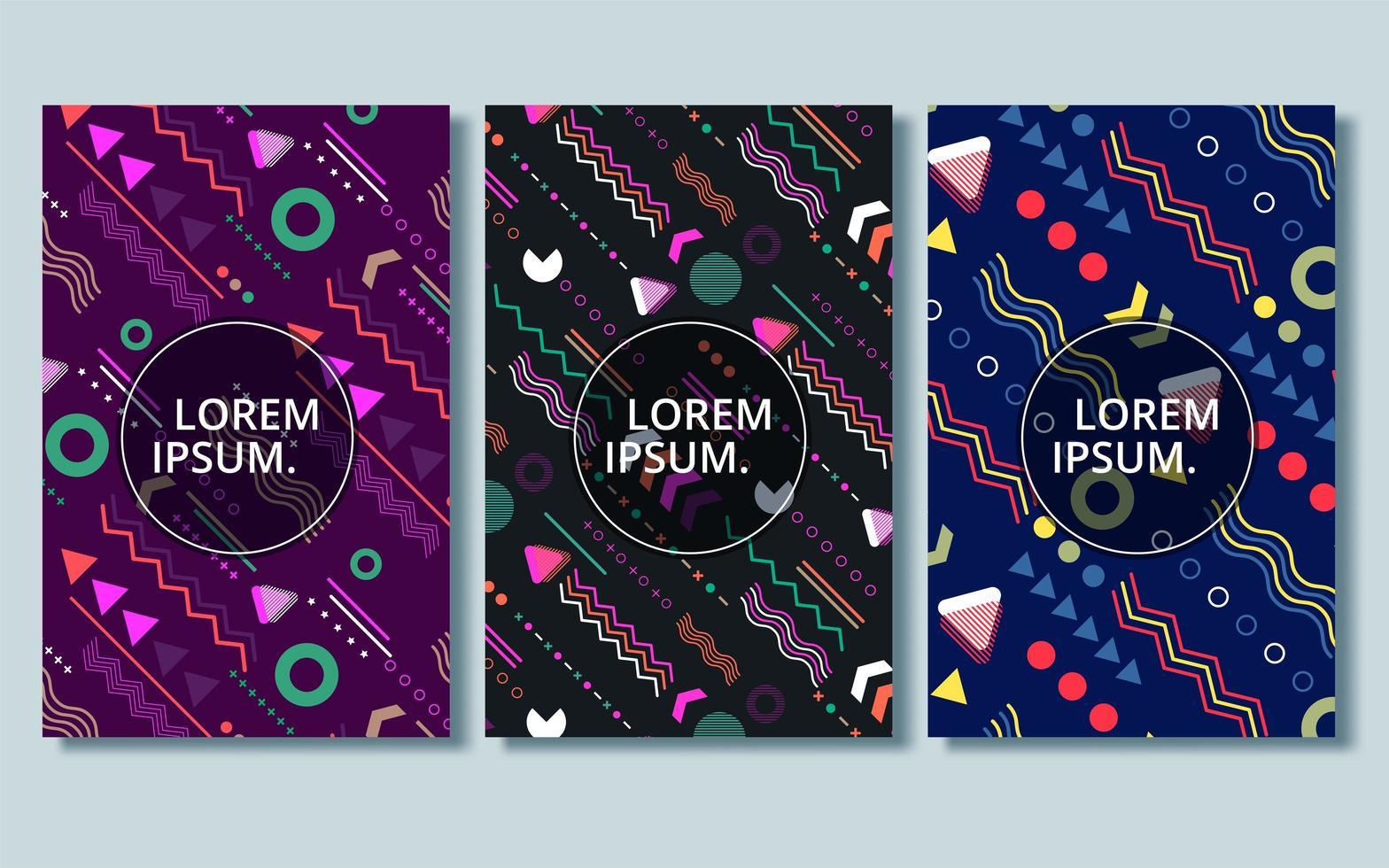 conjunto de design de cartão padrão brilhante de memphis vetor