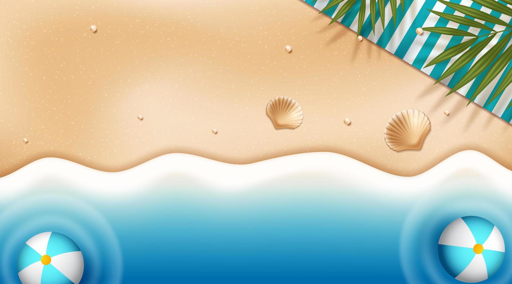 Vue de dessus fond de plage avec des boules dans l'eau vecteur