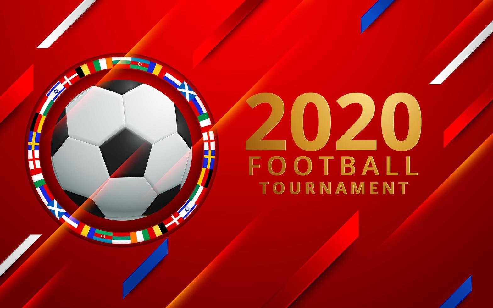 Tournoi de football 2020 avec cercle de drapeaux vecteur