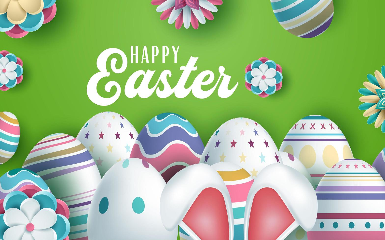 orejas de conejo y huevos decorados diseño de saludo de pascua vector