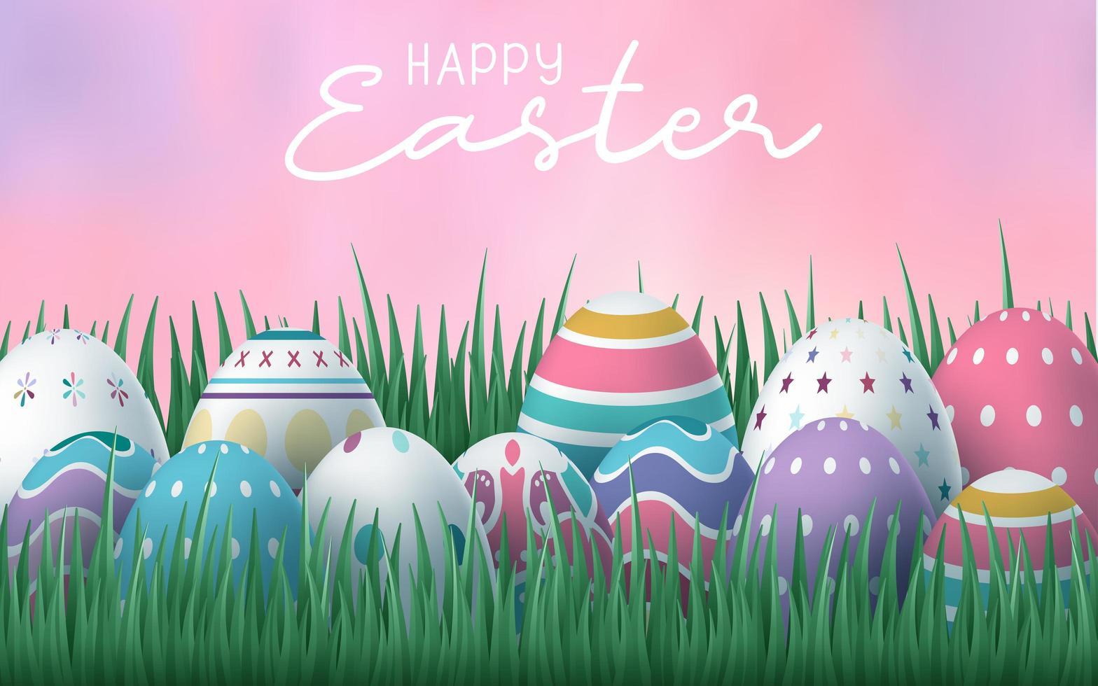 fundo de feliz páscoa com ovos na grama com céu rosa vetor