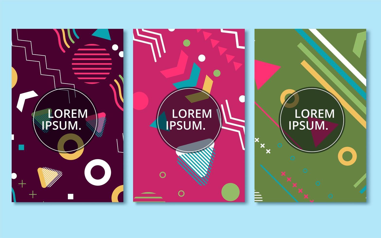 colección de diseños coloridos de tarjetas de memphis vector