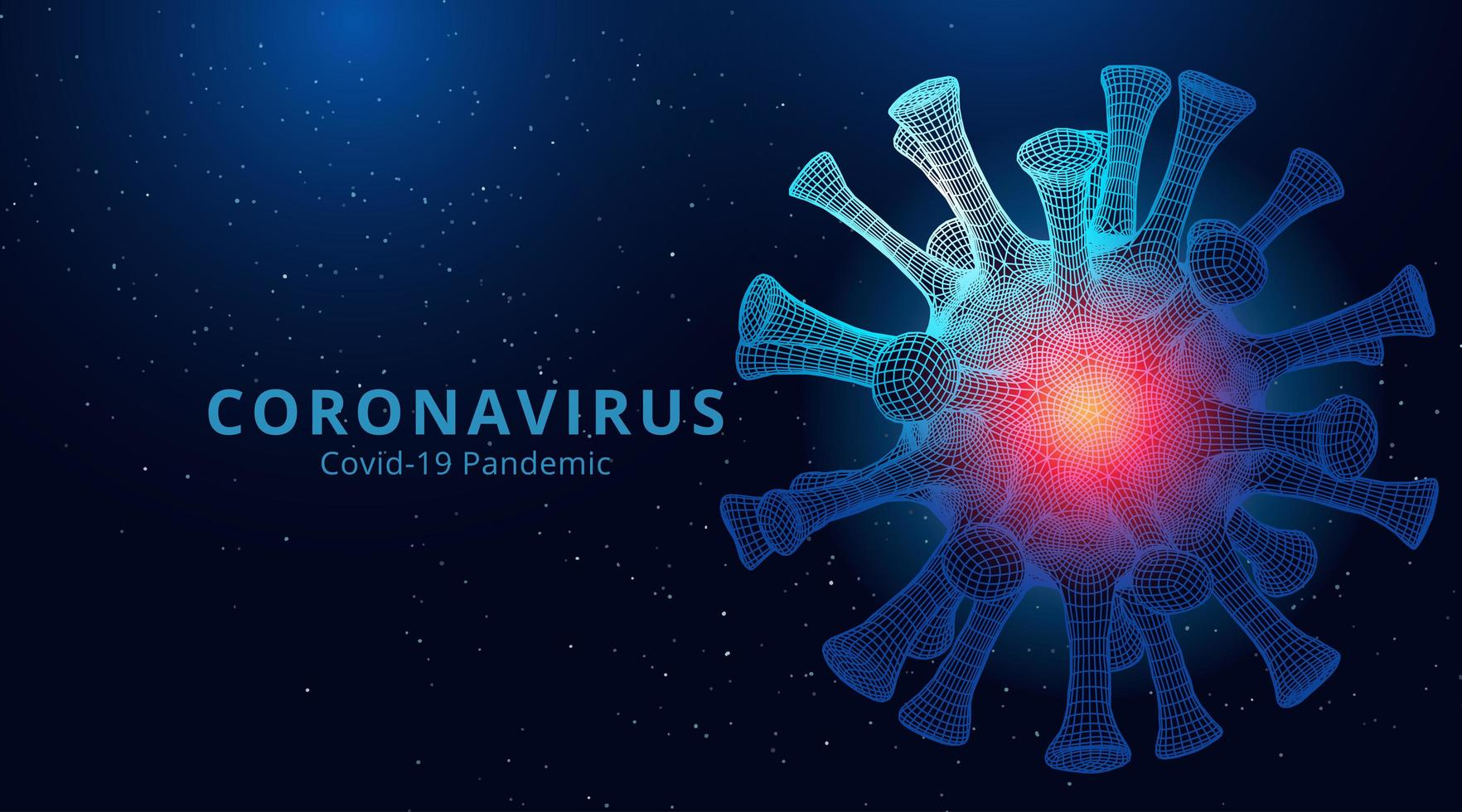 2019-nCov Low Poly Glowing Pink and Blue Microbe vector
