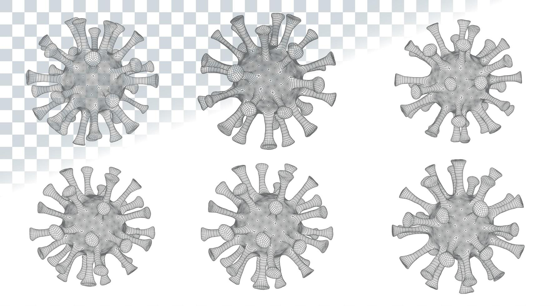 Grey 2019-nCov Low Poly Microscopic Virus vector