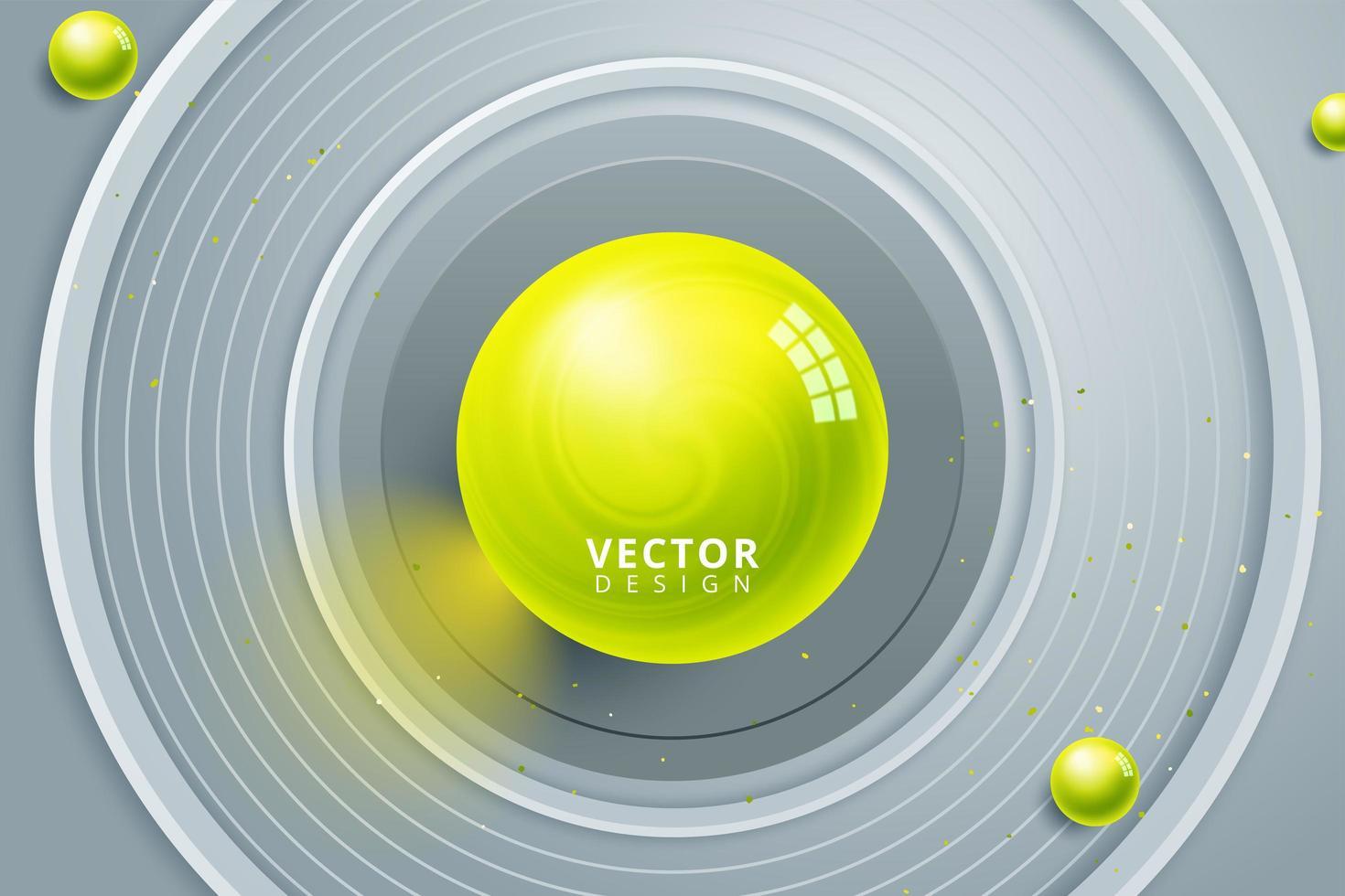 esfera amarilla en el centro de círculos concéntricos grises vector