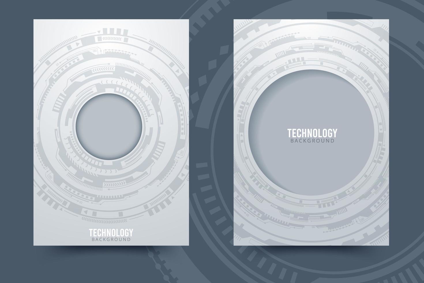 sfondo di tecnologia cerchio grigio e bianco vettore