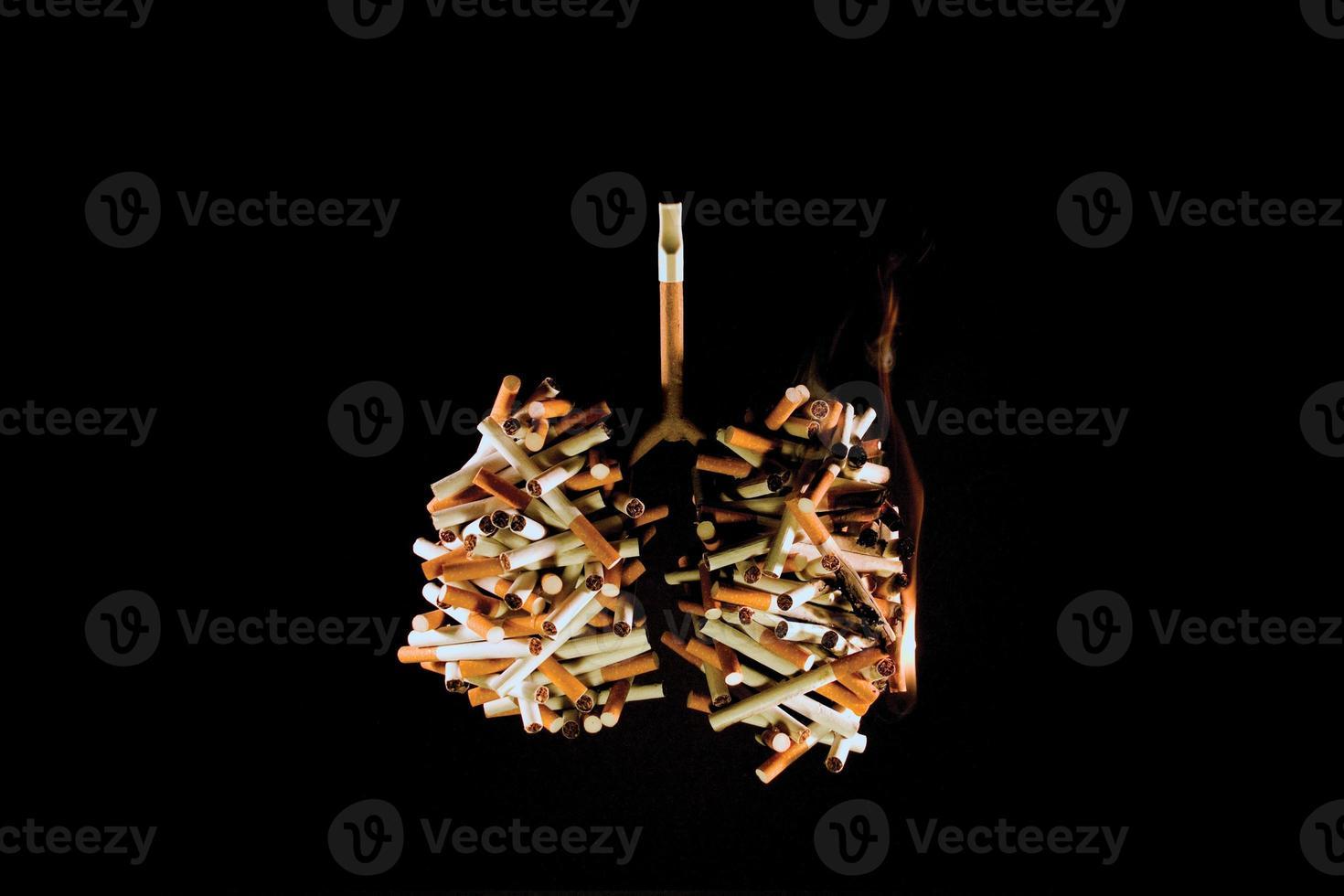 pulmones de un fumador (concepto) foto