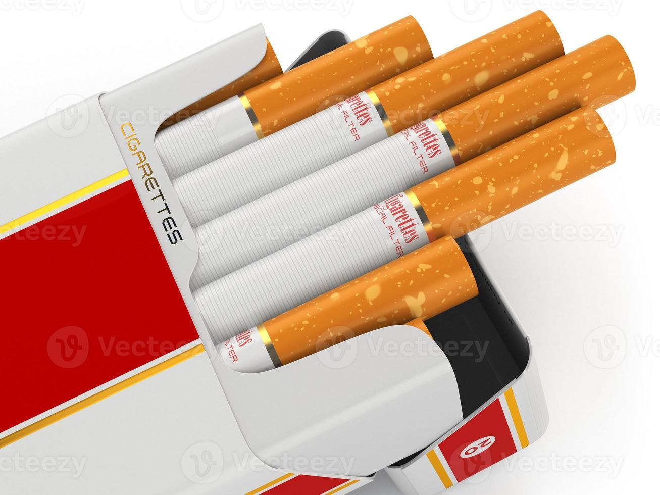 Paquete de cigarrillos genéricos sobre fondo blanco. foto