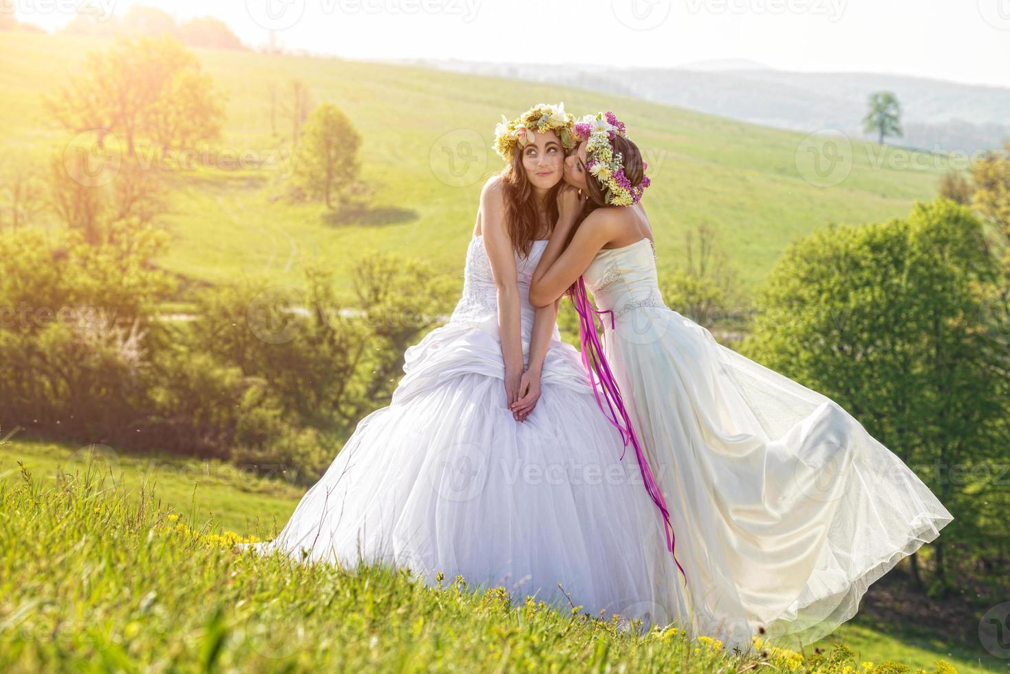 2 novia hermosa en la mañana, prado idílico, símbolo de amistad foto