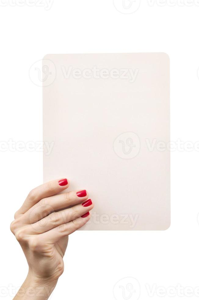 woman hand holding white empty plate isolated over white photo