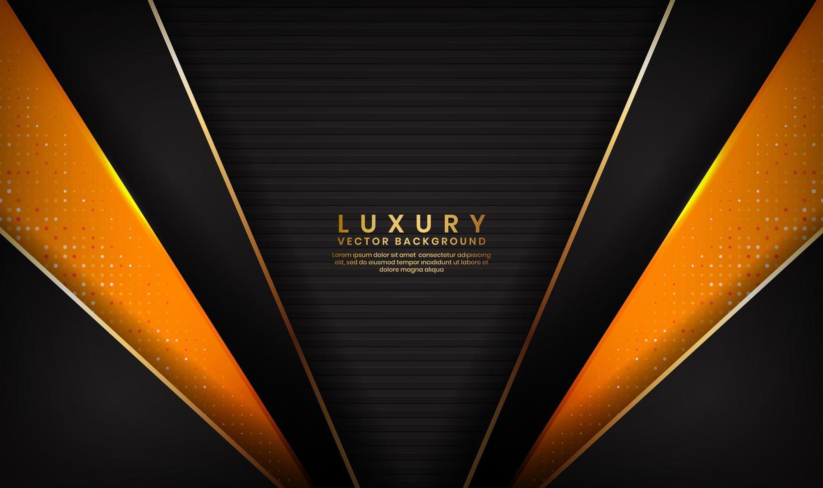 Fondo abstracto de lujo negro y naranja con líneas doradas vector