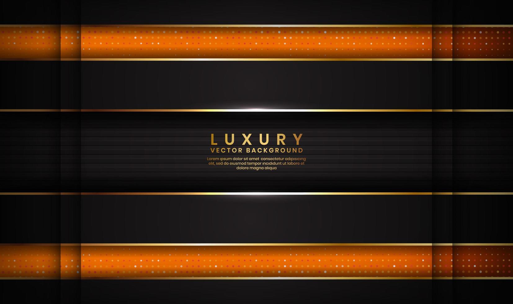 abstracte donkere ruimte luxe zwarte en oranje achtergrond met gouden lijnen vector