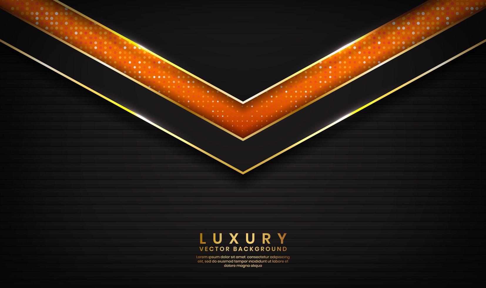 Abstrait de luxe noir et orange avec des lignes dorées vecteur