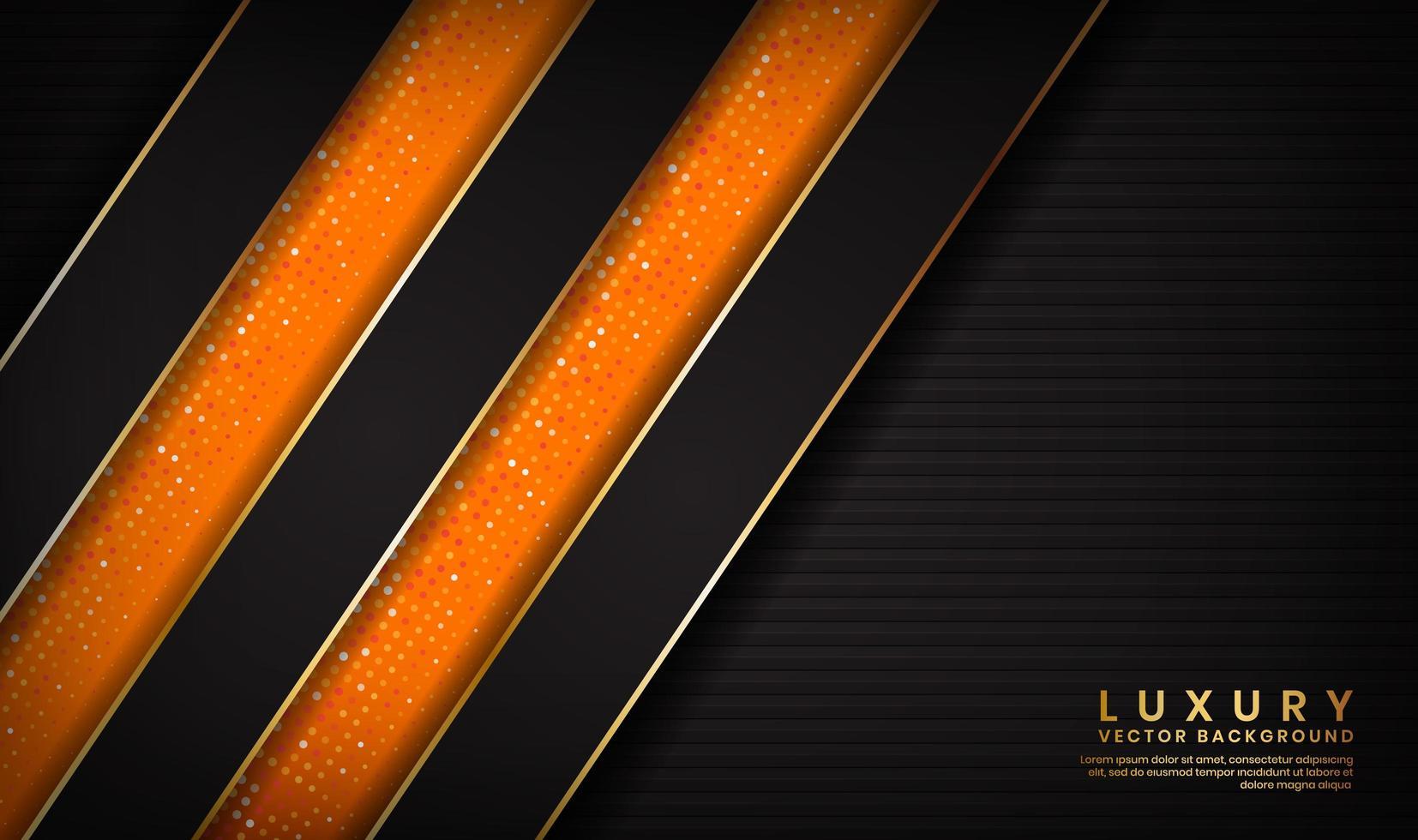 Fondo negro y naranja de lujo a rayas de fondo abstracto vector