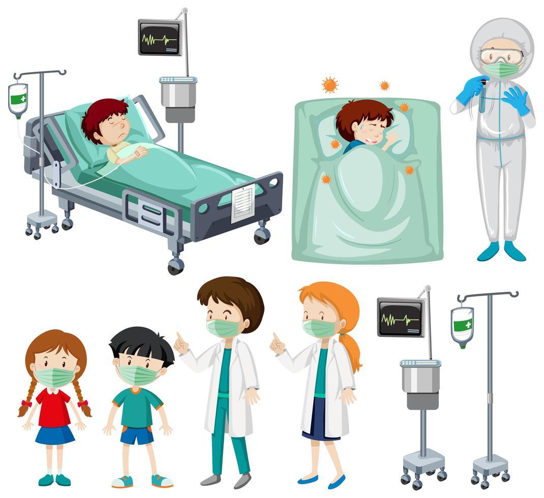 conjunto de pacientes y médicos vector