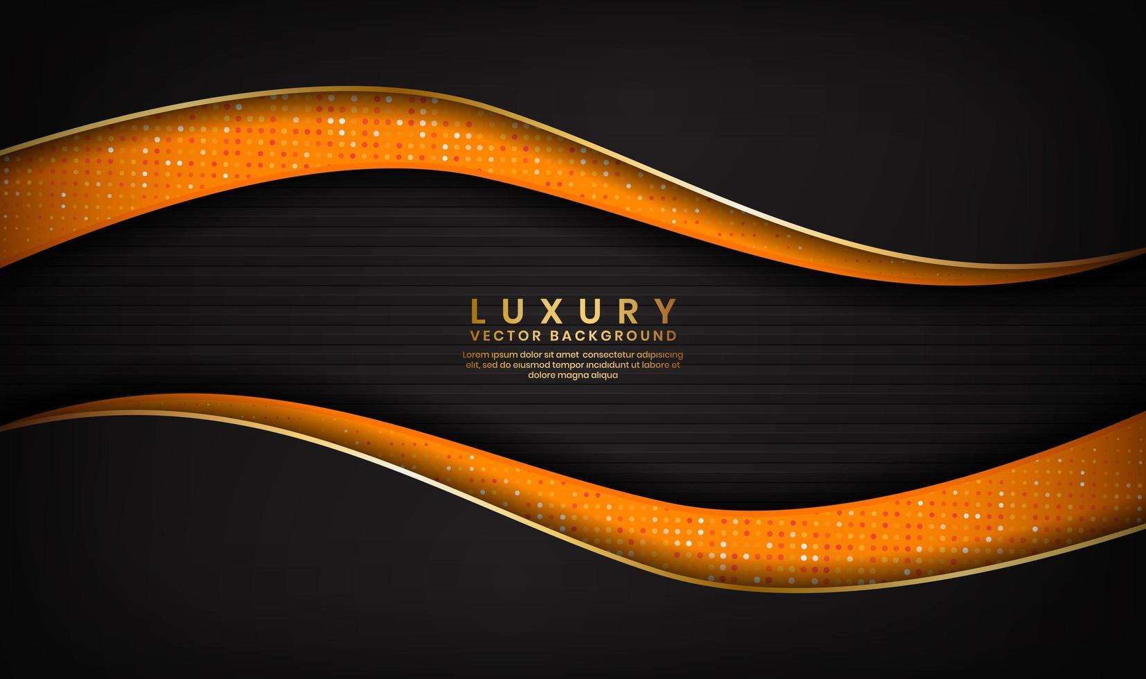 abstracte luxe zwarte en oranje achtergrond met gouden lijnen in golfontwerp vector