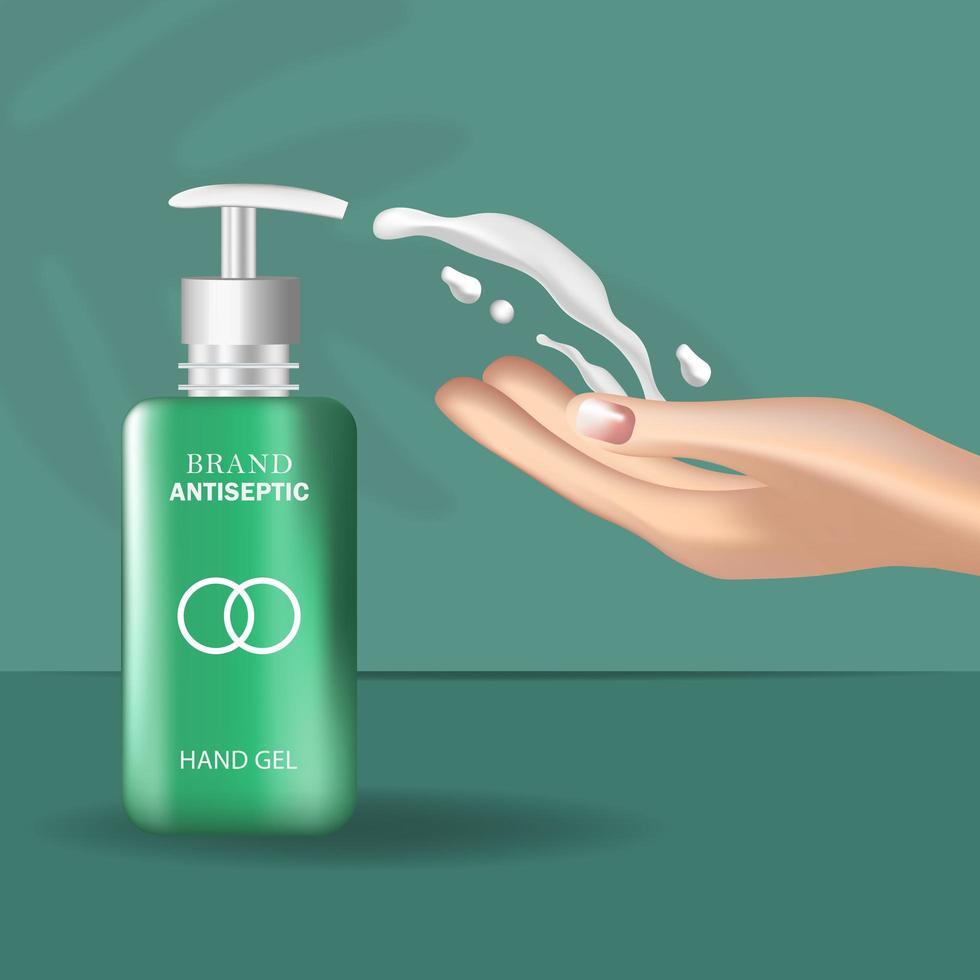 garrafa de desinfetante para as mãos realista vetor