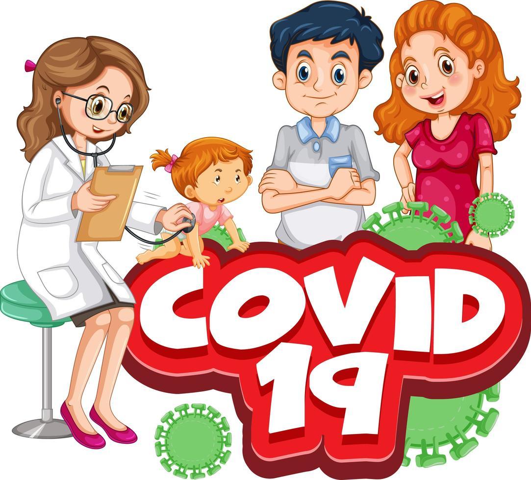 coronavirus con familia en el chequeo de salud vector