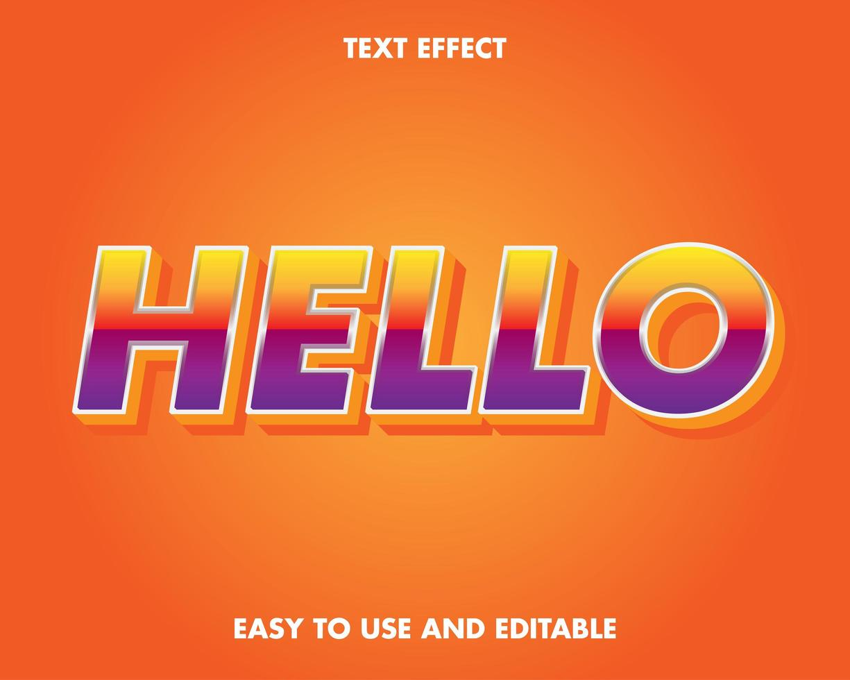 Modern Yellow and Purple Gradient Text Effect vector