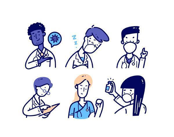 conjunto de caracteres médicos en estilo doodle vector