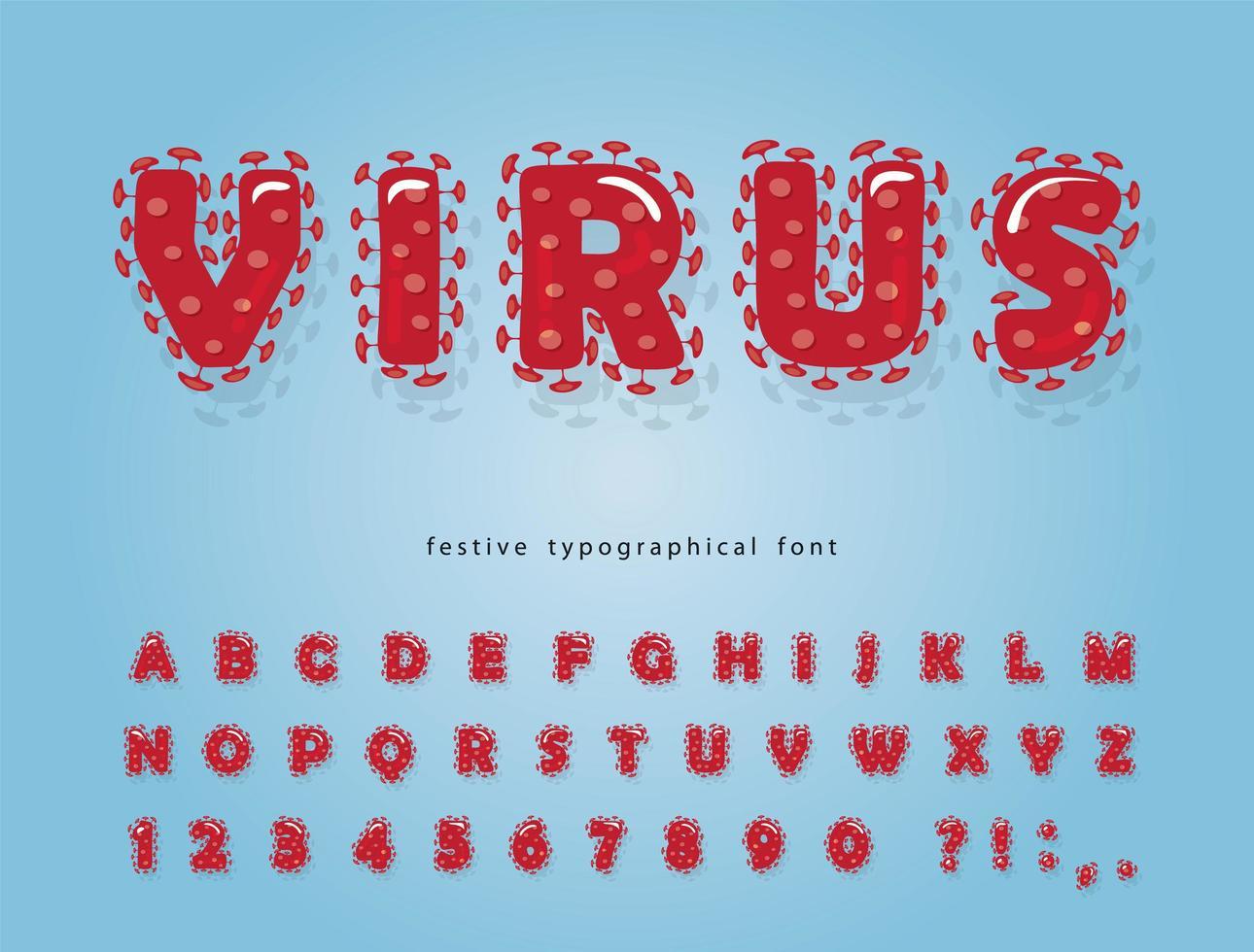 Virus Red Cartoon Font vector