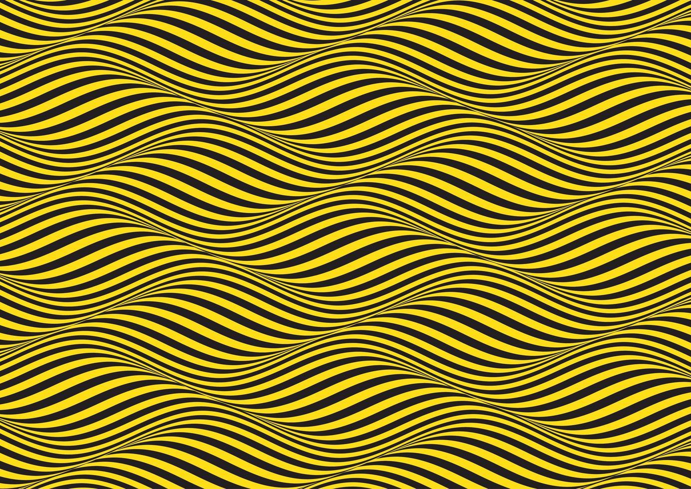 sfondo giallo e nero ondulato illusione ottica vettore