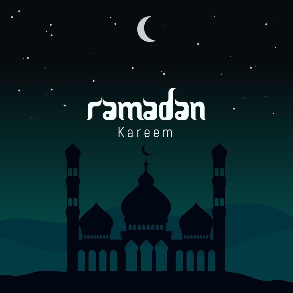 Ramadán Kareem mezquita silueta poster vector