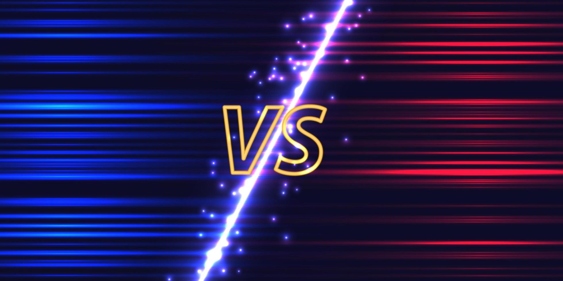 versus pantalla con brillo de neón vector