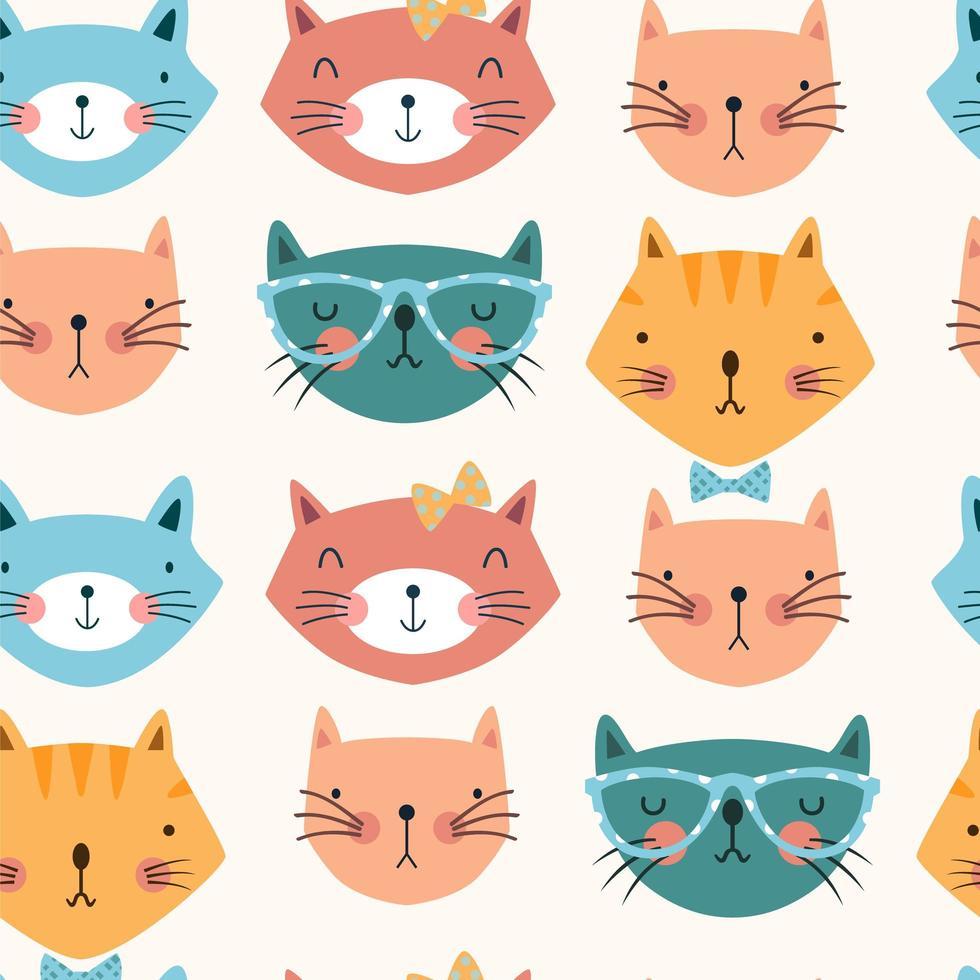 modello senza cuciture con teste di gatto colorate vettore