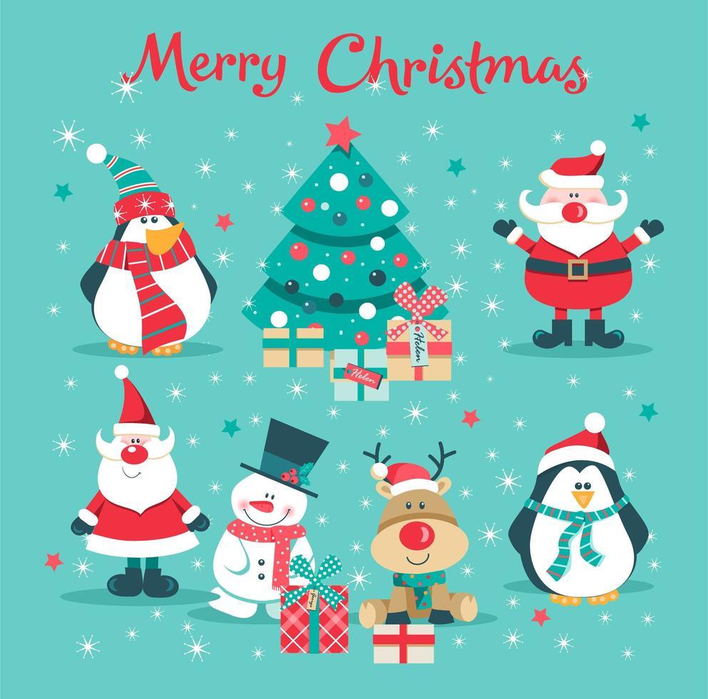 Christmas card with Santa, tree, penguin, deer and snowman vector