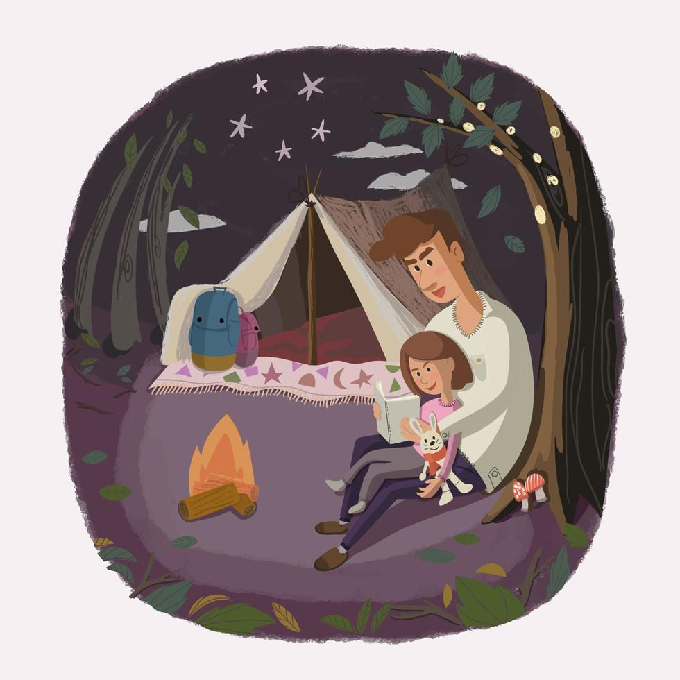 gelukkig liefdevolle camping familie vector