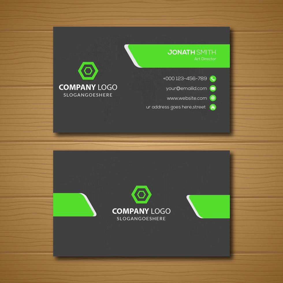 tarjeta de visita gris con formas angulosas verdes vector
