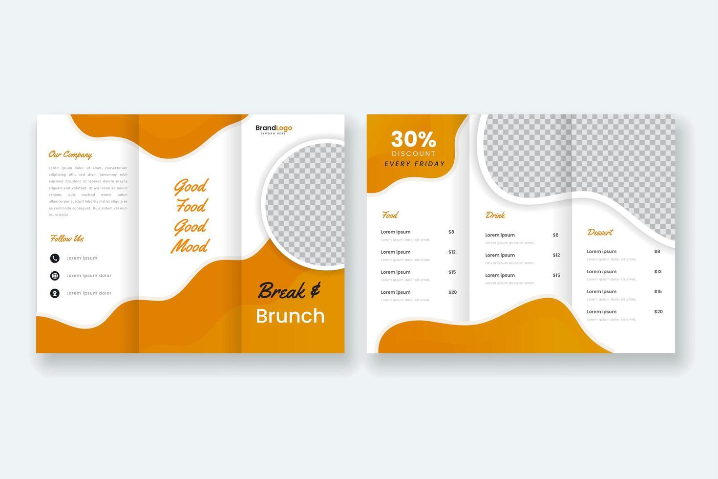 modèle de brochure alimentaire à trois volets vecteur