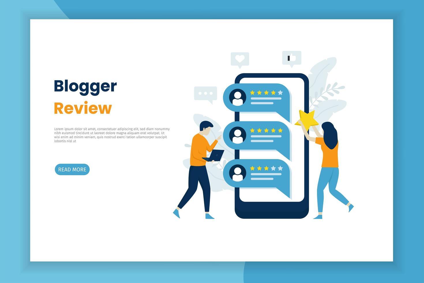 página de verificação da revisão do blogger vetor