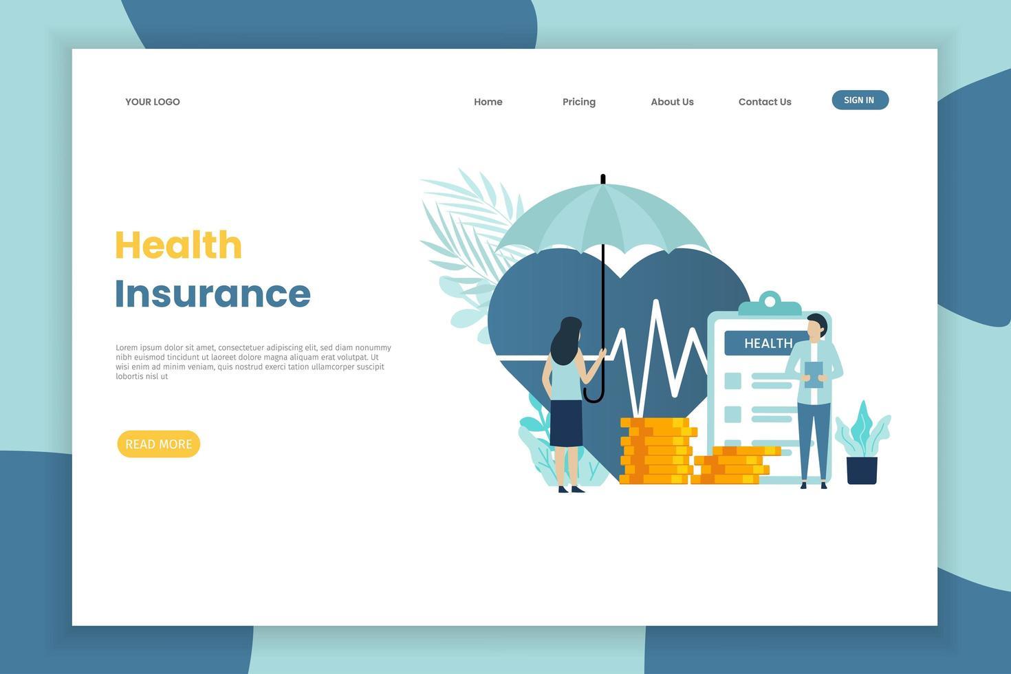 mujer con página de inicio de seguro de salud paraguas vector